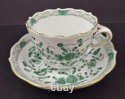 Antique Meissen Demitasse Cup & Saucer, Green Floral & Gold
