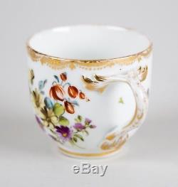 Antique Meissen Dresden AR Augustus Rex Hand Painted Demitasse Cup & Saucer