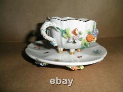 Antique Meissen Dresden Style Encrusted Floral Insects Demitasse Cup And Saucer