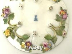 Antique Meissen Footed Demitasse Tea Cup & Saucer Applied Flowers and Gold Gilt