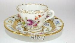 Antique Meissen Gold Encrusted Floral Flower Bouquet Demitasse Cup & Saucer