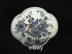 Antique Meissen Quatrefoil Demitasse Cup & Saucer Hand Painted Birds & Foilage