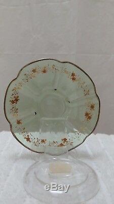 Antique Moser Demitasse Green Glass Cup & Saucer Gold Gilt Enamel
