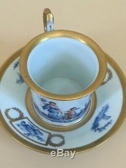 Antique Napoleonic Era M Imp de Sèvres 1804-1809 Hallmark Demitasse Cup & Saucer