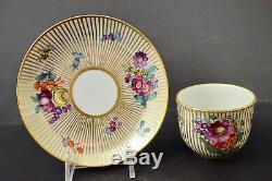 Antique Nymphenburg Demitasse Cup & Saucer, Floral