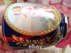 Antique Painted Cherub Royal Vienna Beehive Cabinet Demitasse Cobalt Cup Saucer