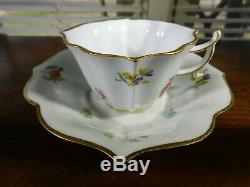 Antique Porcelain Gold Trim Demitasse Cup and Saucer Meissen Crossed Swords