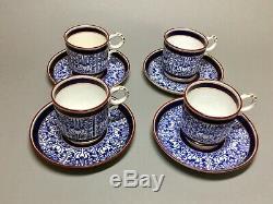 Antique ROYAL WORCESTER 4 Demitasse Cups Saucers LILY Cobalt Blue GOLD