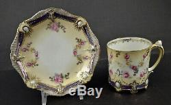 Antique RS Prussia Demitasse Cup & Saucer, Jewel Mold