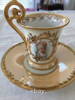Antique Richard Klemm Dresden Ladies Portrays Demitasse Cup And Sauce -1887