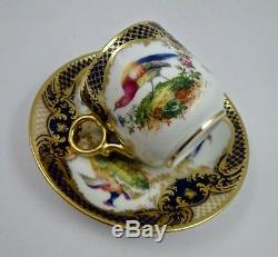 Antique Royal Doulton Demitasse Cup & Saucer, Made for Tiffany Exotic Birds