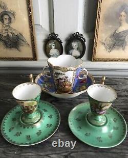 Antique Royal Vienna Bavaria mint green demitasse hot chocolate cups & saucers