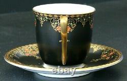 Antique Royal Worcester Demitasse Cup & Saucer Black Satin Jeweled Teacup