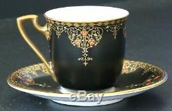 Antique Royal Worcester Demitasse Cup & Saucer Black Satin Jeweled Vintage Deco