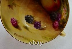 Antique Royal Worcester Demitasse Cup & Saucer, Fruit