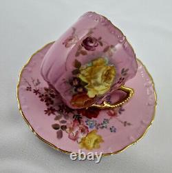 Antique Royal Worcester Demitasse Cup & Saucer, Roses