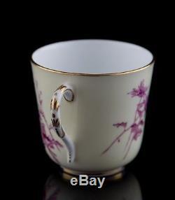 Antique Royal Worcester Demitasse Cups & Saucers, Set of (4), England c. 1887