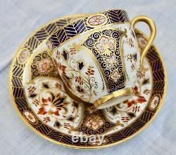Antique Royal Worcester Gold Washed Demitasse Cup & Saucer, Imari Style