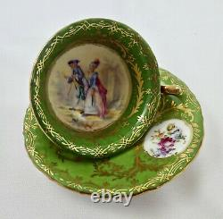 Antique Saxe Dresden Demitasse Cup & Saucer, Scenic