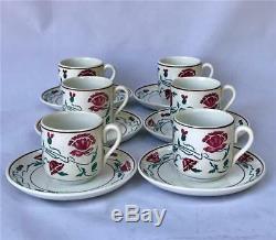 Antique Set 6 Villeroy Boch Dresden Saxony Art Nouveau Demitasse Cups & Saucers