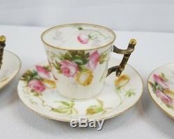 Antique Set Of 4 Painted Porcelain Haviland Limoges Demitasse Cups And Saucers