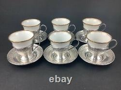 Antique Set of 6 Sterling Silver Demitasse Cups & Saucers with Rosenthal Inserts