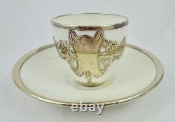 Antique Silver Overlay Demitasse Cup & Saucer