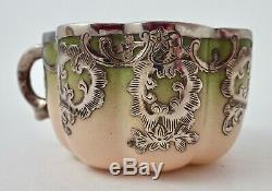Antique Silver Overlay Demitasse Cup & Saucer, Continental