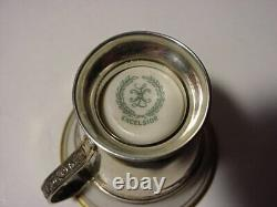Antique Sterling Silver Demitasse Cups & Saucers Lenox Excelsior Inserts Liners