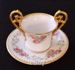 Antique T&V LIMOGES France Bone China Pink ROSE Set Demitasse Cup & Saucer