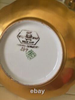 Antique T & V Limoges Demitasse Cup & Saucer ALL Gold On 4 Feet Scalloped