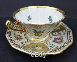 Antique Thieme Dresden Demitasse Cup & Saucer, Hand Painted