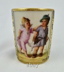 Antique Vienna Demitasse Cup Saucer, Scenic