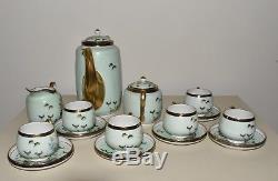 Antique Vtg Japanese Satsuma Tea Pot Set Demitasse Cups Saucers Cream Sugar