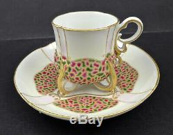 Antique Wahliss Demitasse Cup & Saucer, Jeweled