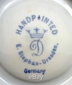 Antique Wolfsohn Dresden Demitasse Cup & Saucer, Green, Pedestal A