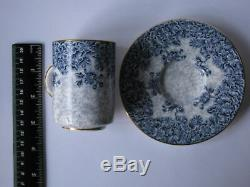 Antique (c. 1895) Royal Worcester Cup & Saucer Demitasse B&W Gilt Rim BEAUTY