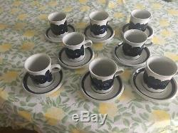 Arabia Anemone Blue 8 Cups/saucers Signed. Vintage Excellent Condition