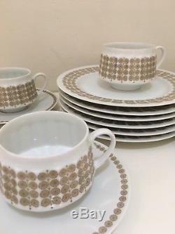 Arabia Finland China Demitasse Cup & Saucer Pallas/Raija Uosikkinen 17 Pieces