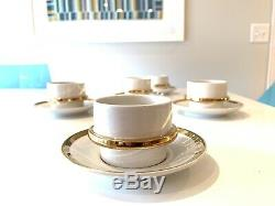 Arabia Made In Finland Demitasse Cups And Saucers Espresso Tea Mid Century Gold
