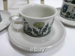 Arabia Of Finland Flora Four (4) Demitasse Cup & Saucer Sets Vgc