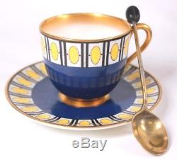 Art Deco Royal Worcester Mappin Webb Cased Set of Six Demi Tasse Cup and Saucers
