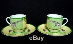 Authentic HERMES Africa Porcelain 2 Set Demitasse cup and Saucer