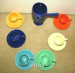 Awesome Fiesta Pottery Demitasse Cobalt After Dinner Coffeepot & 6 Cups/saucers