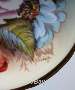 Aynsley Cup And Saucer Rare Signed Bailey Demitasse Gold Large Roses