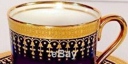 Aynsley HERTFORD COBALT DEMITASSE CUPS & SAUCERS SET of 9 Bone China #7081