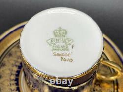 Aynsley Simcoe Coffee Espresso Demitasse Cup Saucer Set X 4 Bone China England