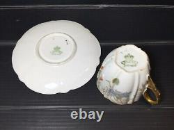 Aynsley antique demitasse cup and saucers in poppy and cornflower design c1891