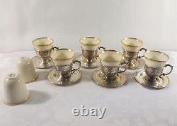 BASKET of FLOWERS (1920) by D&H (6) STERLING DEMITASSE CUPS & SAUCERS
