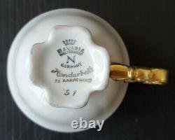 Bavaria Waldershof 22K Handarbeit Germany Demitasse Cup Saucer Rose Garland